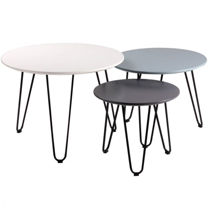 Set 3 mesas auxiliares blanco, azul y gris FABIO
