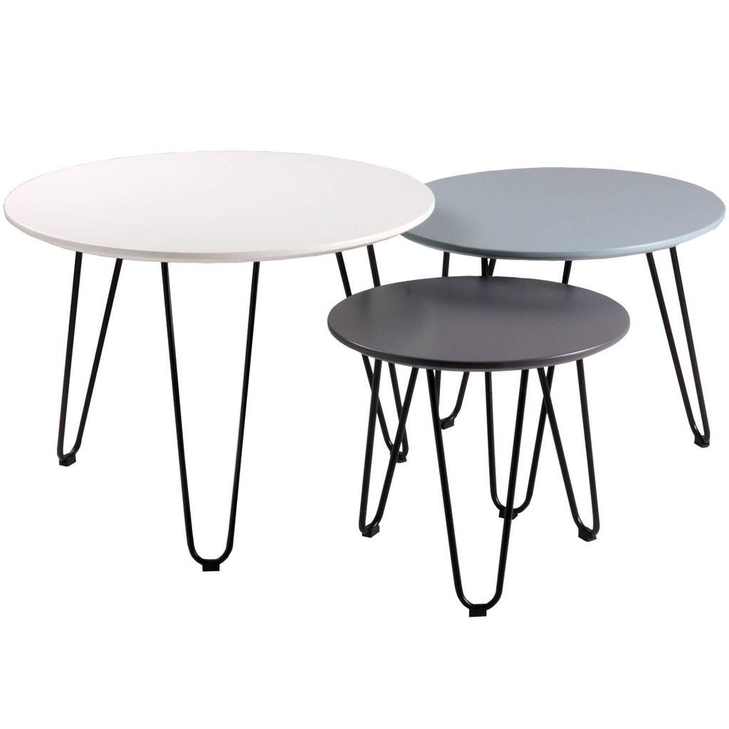 Set 3 mesas auxiliares blanco azul y gris fabio erizho for Mesas de centro y auxiliares