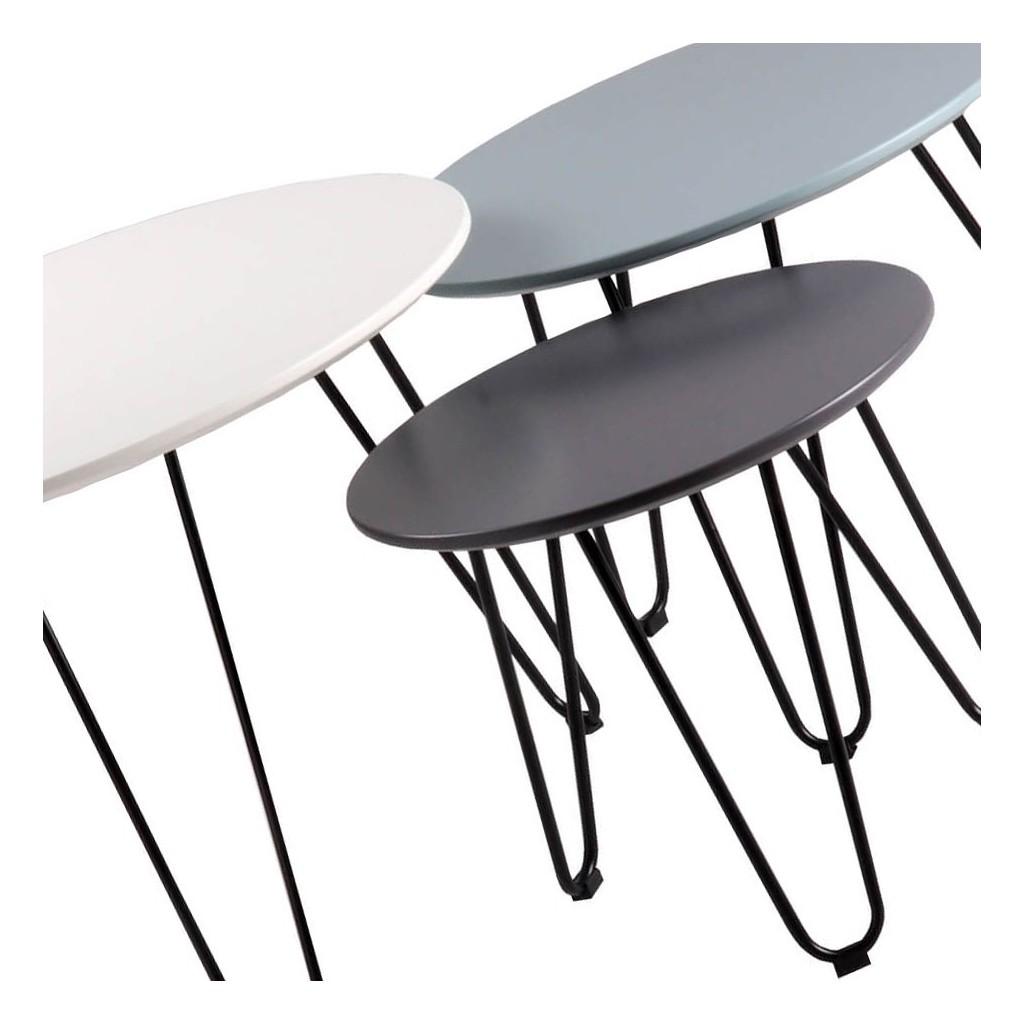 Set 3 mesas auxiliares blanco azul y gris fabio erizho - Mesas de centro y auxiliares ...