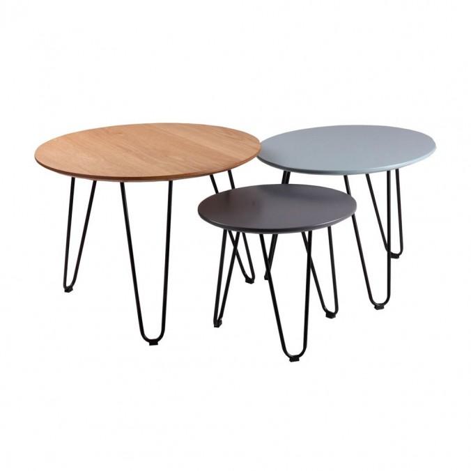 Set 3 mesas auxiliares roble, azul y gris NERO