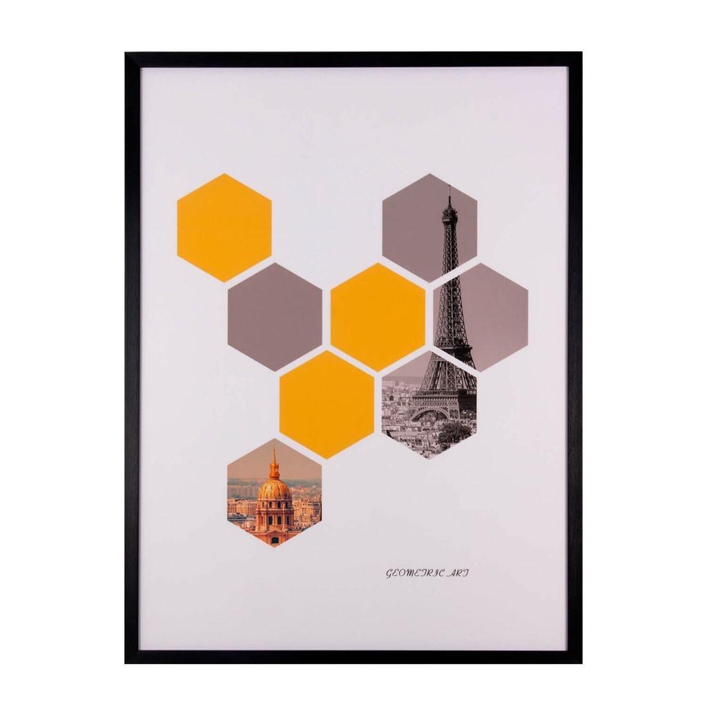 Cuadro HEXAGONS 60x80cm con marco y cristal - Erizho
