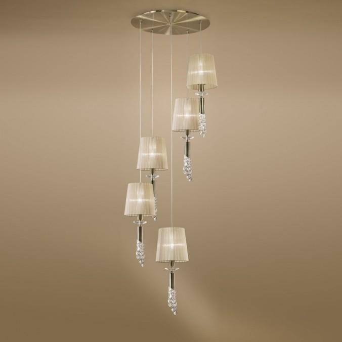 Lámpara techo clásica TIFFANY cuero 5 pantallas