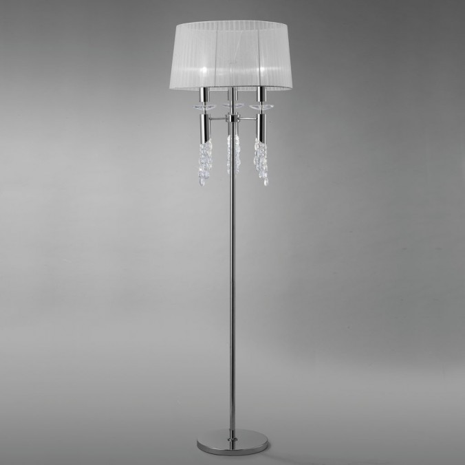 Lámpara pie de salón clásico TIFFANY cromo