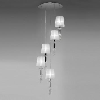Lámpara plafón clásico TIFFANY cromo 5 pantallas
