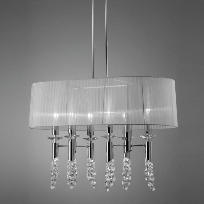 Lámpara techo clásica TIFFANY cromo pantalla oval