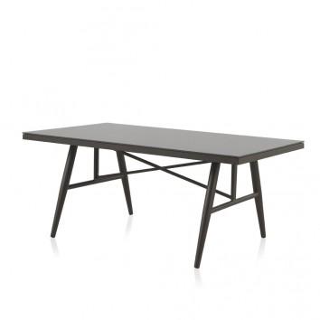 Mesa exterior DELTA 180x100cm aluminio y cristal 10mm