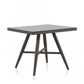 Mesa exterior DELTA 90x90cm aluminio y cristal 8mm