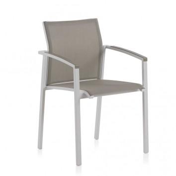 Sillón de exterior WHITE ERGO aluminio y textilene