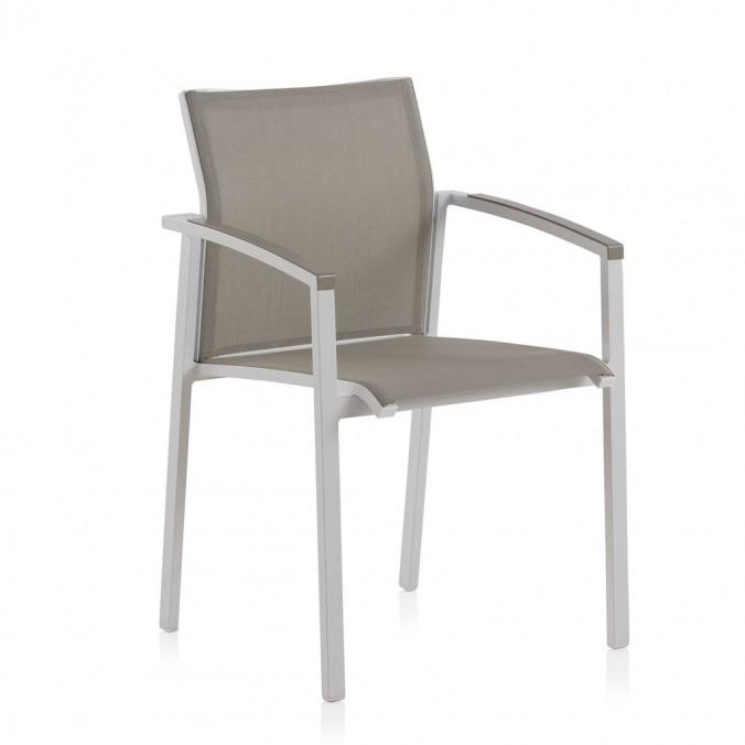 Sillón de exterior WHITE ERGO aluminio y textiline