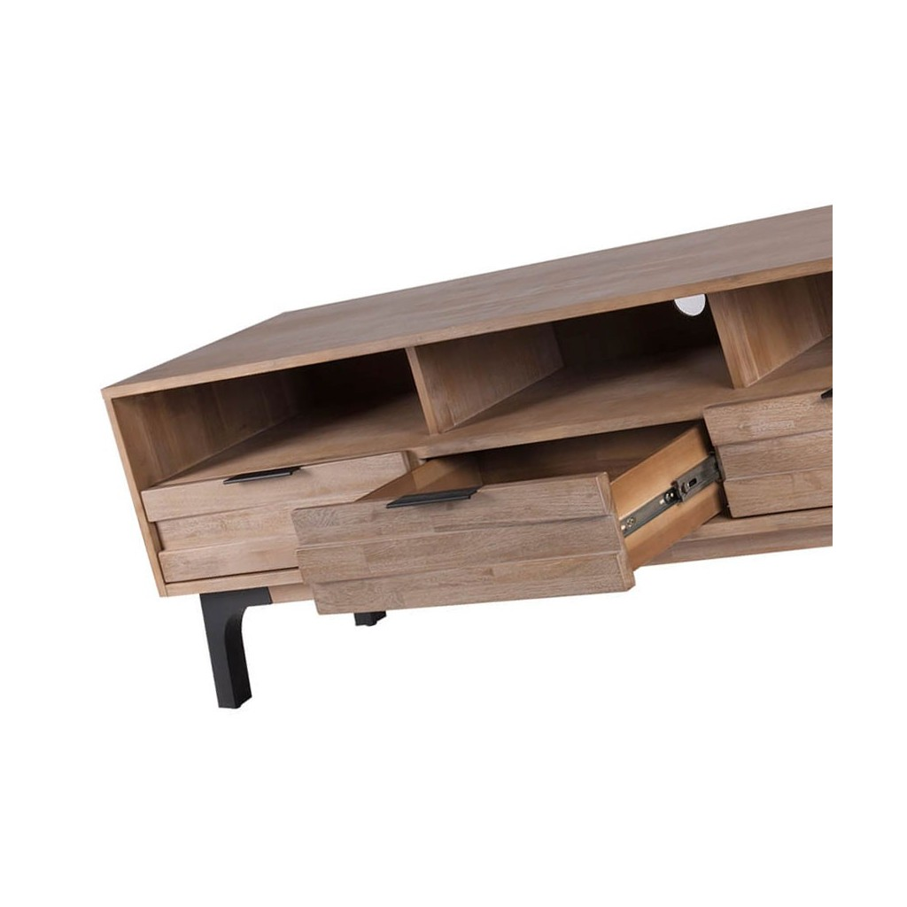 Mueble tv amsterdam 165cm madera maciza acacia erizho for Muebles salon madera maciza