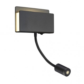 Aplique de pared lectura LED doble luz negro