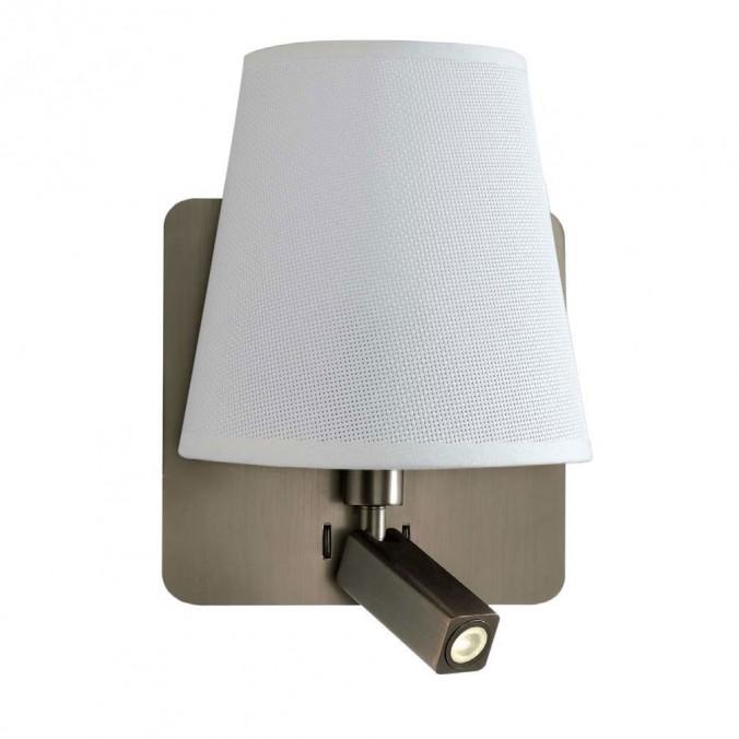 Aplique pared pantalla blanca y lector LED BAHIA cuero