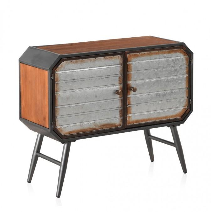 Consola estilo industrial 80x30x66h hierro y madera de pino