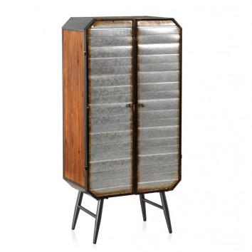 Armario estilo industrial 60x34x126h hierro y madera de pino