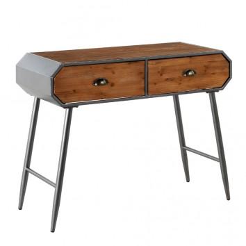 Consola estilo industrial 2 cajones 100x40x78h hierro y madera de pino