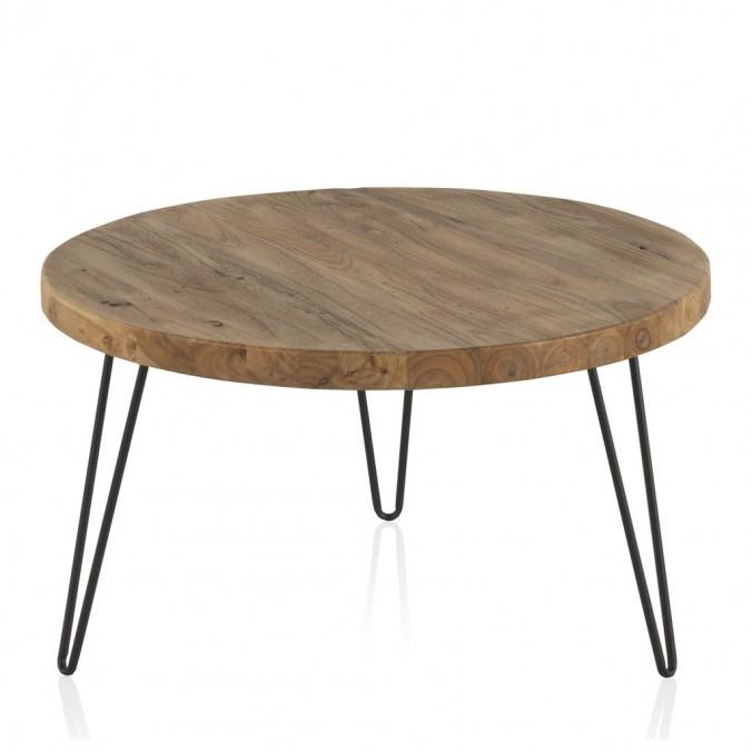 Mesita de centro redonda 71x37,5h hierro y madera olmo