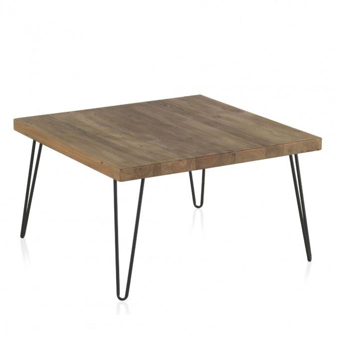 Mesita de centro cuadrada 71x71x40h hierro y madera olmo