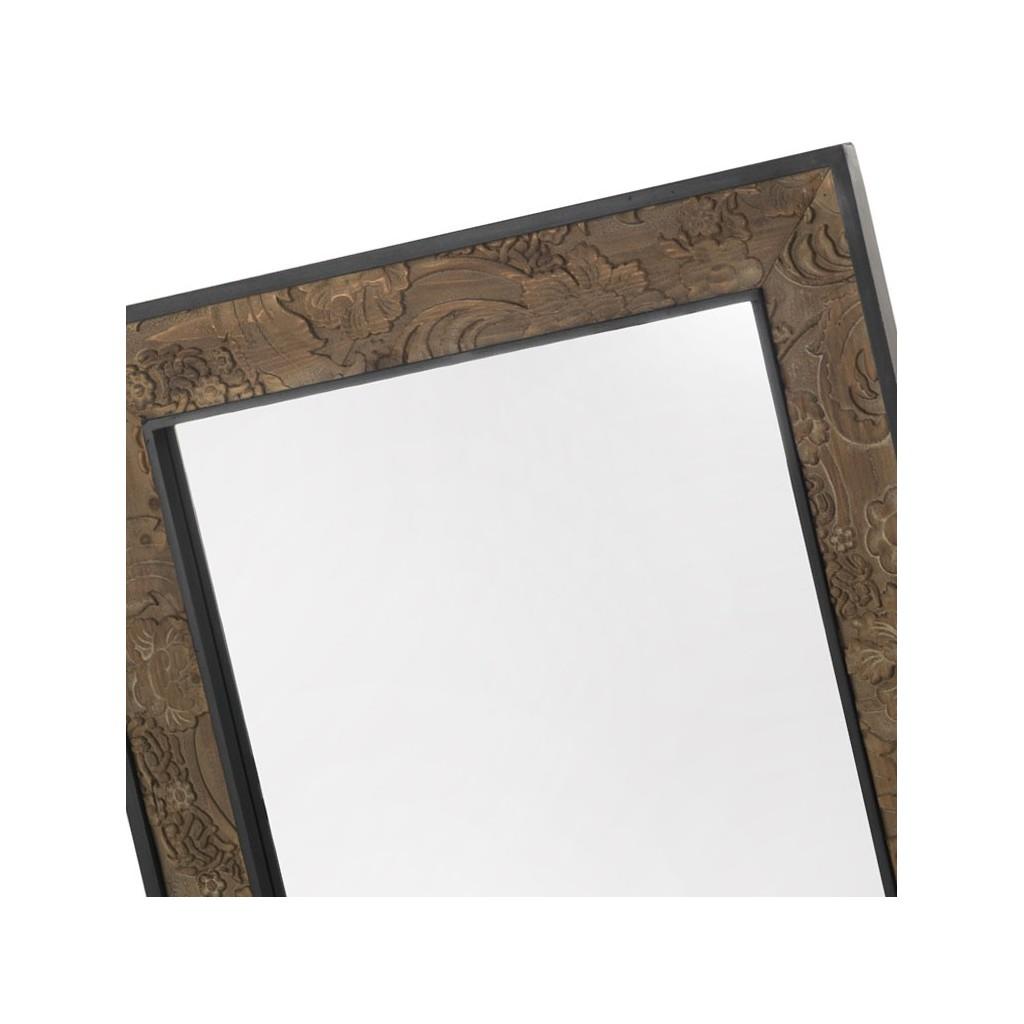 Espejo 80x100cm con marco de madera tallada erizho for Espejos grandes con marco de madera