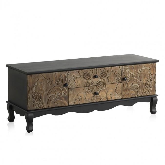 Mueble TV 118x40x46h frentes de madera tallada