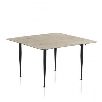 Mesa centro 80x80x46h madera de abeto y hierro