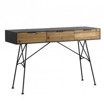Consola estilo industrial 122x40x74h hierro y madera