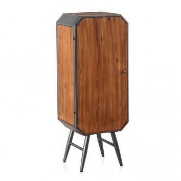 Armarito de estilo industrial con balda 40x31x106h hierro y madera de pino