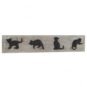Percha pared vintage 4 gatos 80x15cm