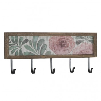 Set 2 perchas pared con flores vintage 60x25cm