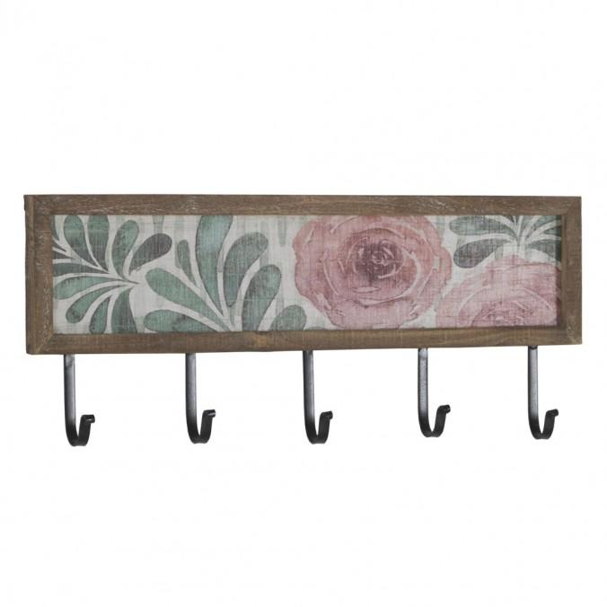 Set 2 perchas pared con flores vintage 60x25cm