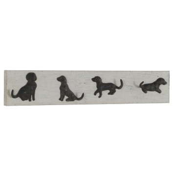 Percha de pared vintage 4 perros 80x15cm
