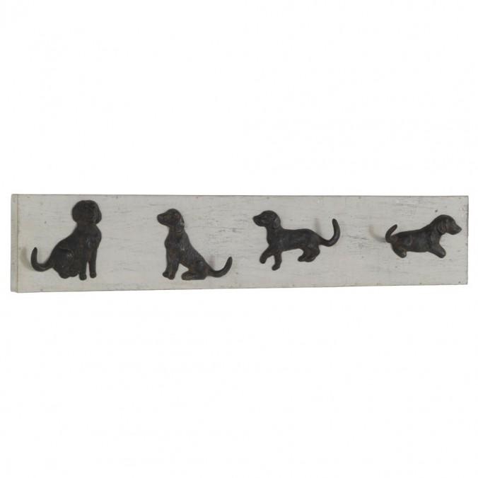 Percha de pared vintage 4 perros 80x15cm