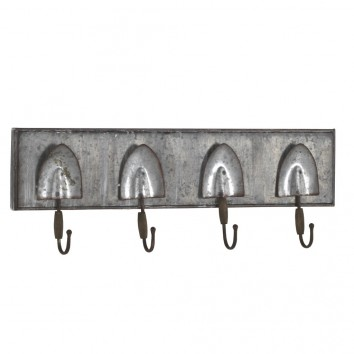 Set 2 perchas pared metal envejecido 60x20cm