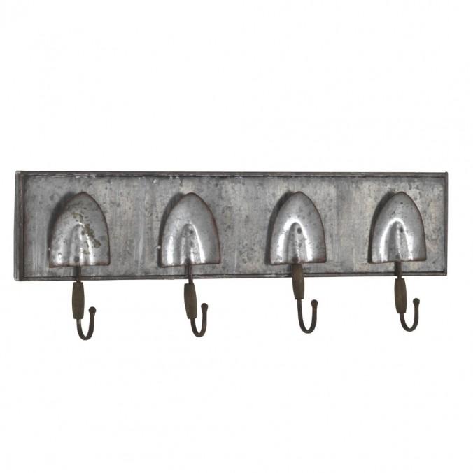 Set 2 perchas pared metal envejecido 60x20cm