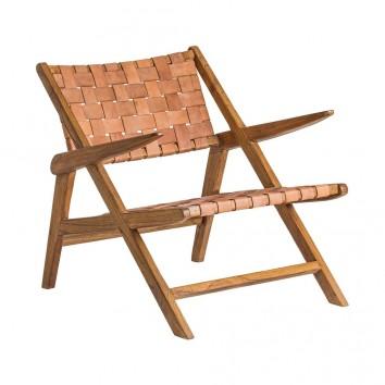 Sillón Cuero y madera mindi - 80x71x76h