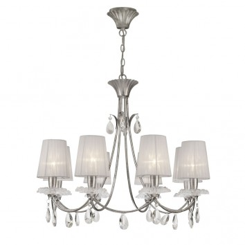 Lámpara de techo estilo clásico SOPHIE plata 8 luces