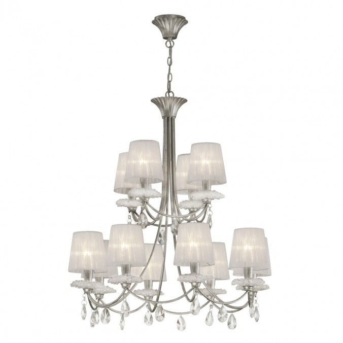 Lámpara de techo estilo clásico SOPHIE plata 12 luces