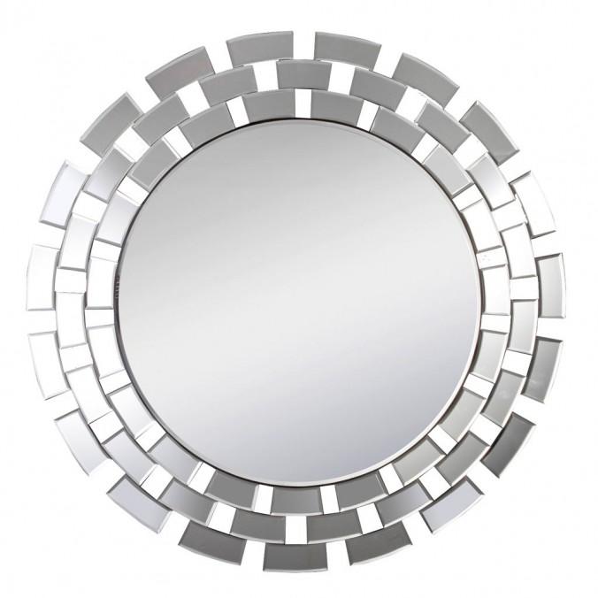 Espejo redondo 90cm con marco de cristales rectangulares