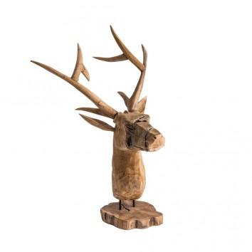 BUSTO CIERVO madera tallada - 50x40x80h