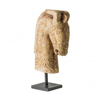 BUSTO CABALLO en madera antigua  - 17x44x65h