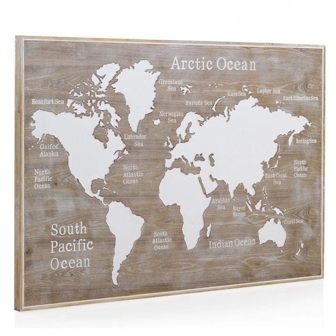 Cabezal mapamundi madera abeto 165x100cm