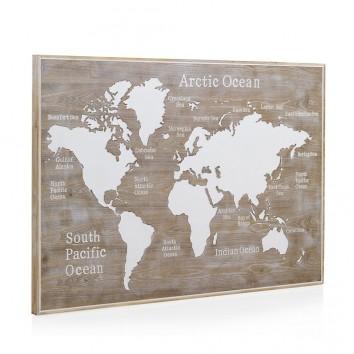 Cabezal mapamundi madera abeto 145x100cm
