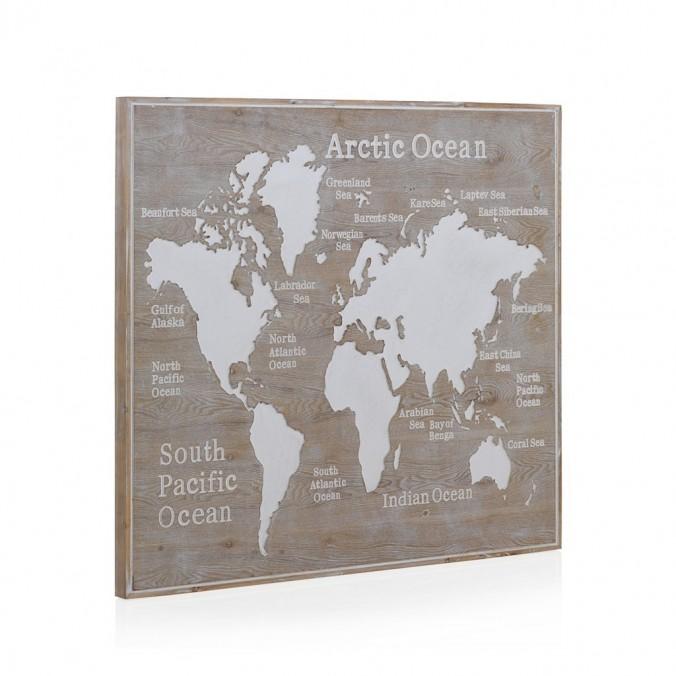Cabezal mapamundi madera abeto 110x100cm