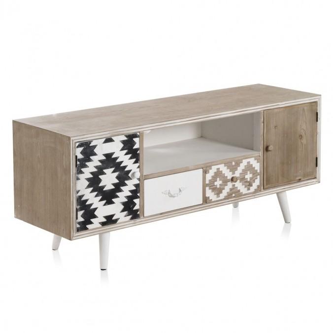 Mueble TV estilo étnico 135x40x56h madera abeto