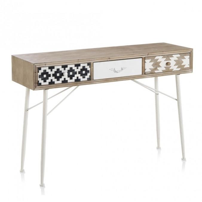 Consola de estilo étnico 120x36x80h madera abeto
