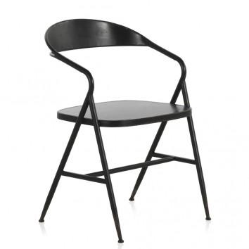 Silla de hierro estilo vintage negro 53x53x79h