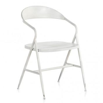 Silla de hierro estilo vintage blanco 53x53x79h