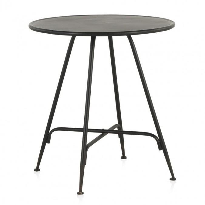 Mesa velador redonda estilo vintage negro 75x75h