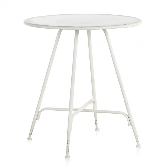 Mesa velador redonda estilo vintage blanco 75x75h
