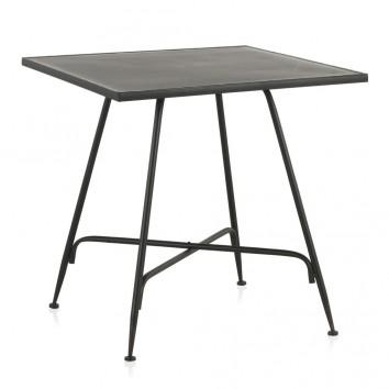 Mesa cuadrada estilo vintage negro 80x80x75h
