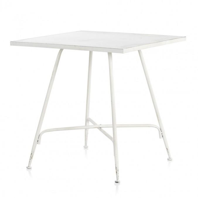 Mesa cuadrada estilo vintage blanco 80x80x75h